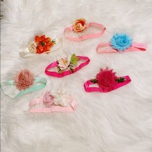 NWOT 7 Floral Baby Girl Hand Made Boutique Bows